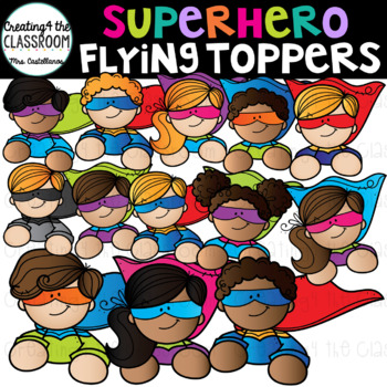 Superhero Kids Toppers Clip Art {Superhero Clip Art}