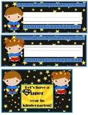 Superhero Kindergarten Nameplates and postcards