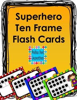 Superhero Ten Frame Flash Cards