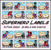 Superhero Labels Four Sizes