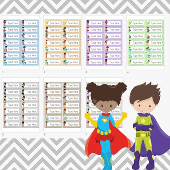 Superhero Labels Editable (Avery 5162) Super Hero
