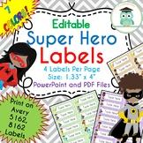 Superhero Labels Editable Classroom Notebook Folder Name Tags (Avery 5162)