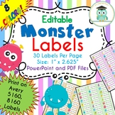 Monster Labels Editable Classroom Notebook Folder Name Tags (Avery 5160, 8160)