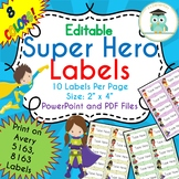 Superhero Labels Editable Classroom Notebook Folder Name Tag (Avery 5163, 8163)