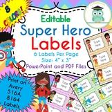Superhero Labels Editable Classroom Notebook Folder Name Tags (Avery 5164, 8164)