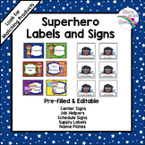 Superhero Labels and Signs (Editable)