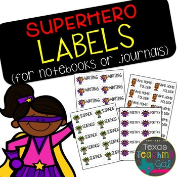 Superhero Labels for Notebooks or Journals