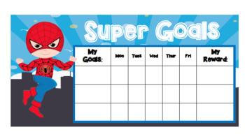 Superhero Goal Setting Learning & Behaviour Chart ****Editable Goals/Rewards