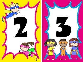 Superhero Learning Station Numbers