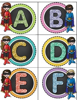 Superhero Letter Labels