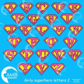 Superhero Letters Clipart, Alphabet in Pinks 2 {Best Teacher Tools} AMB-1884