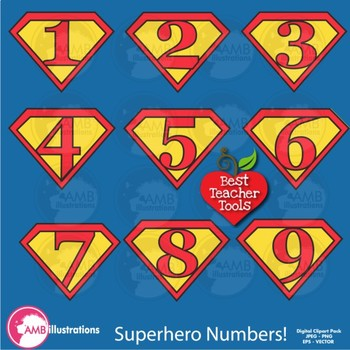Superhero Letters and Numbers Clipart BUNDLE {Best Teacher Tools} AMB-1731