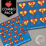 Superhero Letters and Numbers Clipart BUNDLE {Best Teacher