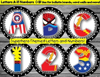 Superhero Letters and Numbers for Bulletin Boards, Word Wall and More!