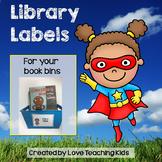 Superhero Classroom Decor Library Labels for Book Bins