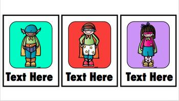 Superhero Library Labels (Editable)
