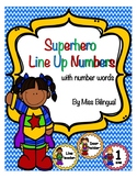 Superhero Line Up Numbers Circles with number words for floor
