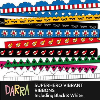 Superhero Long Ribbons Digital Clip Art - Seller kit resource for borders