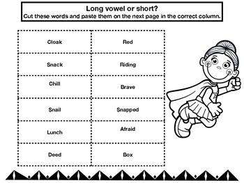 Superhero Long and Short Vowel Activities