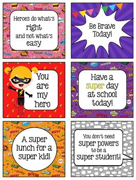 Superhero Lunchbox Notes, Jokes, & Bottle Wraps