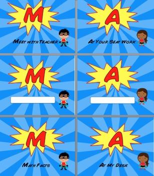 Superhero MATH  Rotation Sign Set for Guided Math