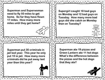 Superhero MATH Subtraction Word Problems FREEBIE!