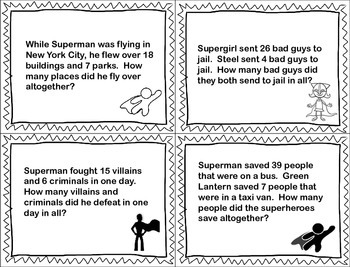 Superhero MATH Word Problems FREEBIE! by Stephanie Reyna | TpT