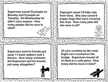 Superhero MATH Word Problems FREEBIE!