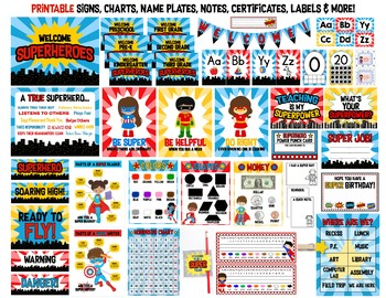 Superhero MEGA Bundle:  Over 100 EDITABLE and PRINTABLE Superhero Resources