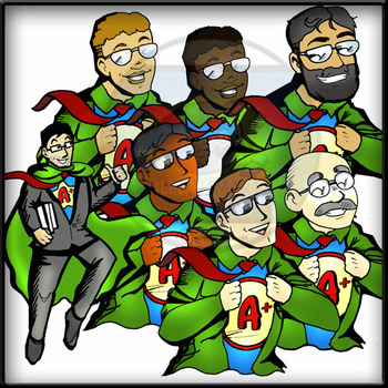 Superhero Male Teachers: 60 pc. Clip-Art Set!