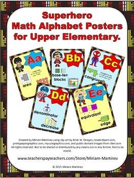 Superhero Math Alphabet Posters for Upper Elementary