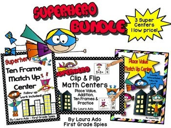Superhero Math Bundle Pack of 3 Centers with Activities