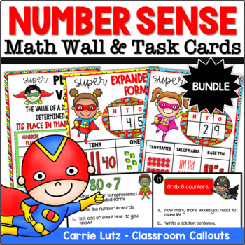 Superhero Math Bundle With Math Wall And Task Cards By Carrie Lutz