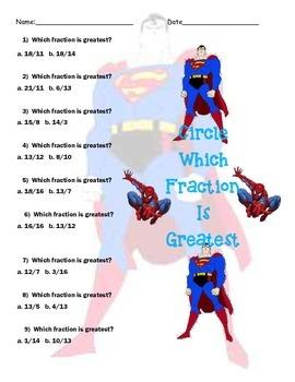 Superhero Math-Fractions, Decimals & Percents