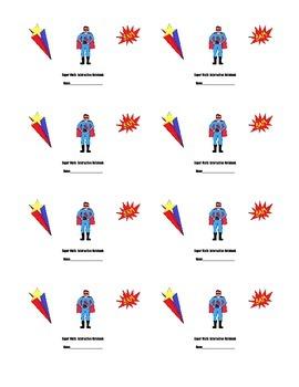 Superhero Math Interactive Notebook Labels