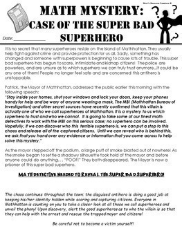Superhero Free Math Mystery Grades K-6 (Differentiated) Math Spiral Review