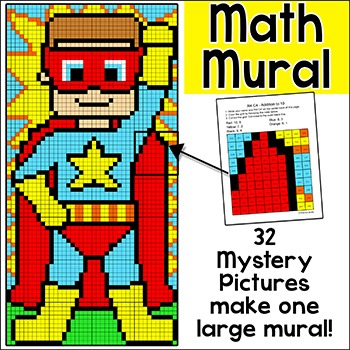 Superhero Math Mystery Pictures Mural: Numbers, Add, Subtract, Multiply, Divide