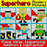 Superhero Hundreds Chart Math Mystery Pictures - Fun Math Centers & Morning Work