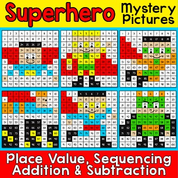 Superhero Hundreds Chart Mystery Pictures: 100th Day of Sc