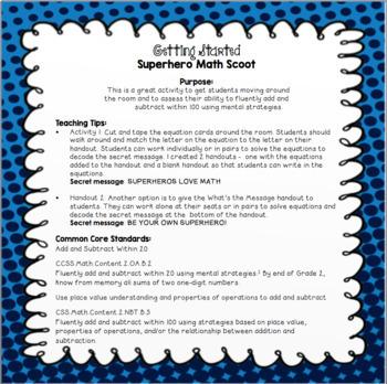 Superhero Math Scavenger Hunt