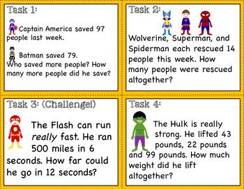 Superhero Math: Task Cards, Game, and Worksheets