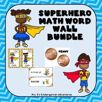 Superhero Math Word Wall Bundle!