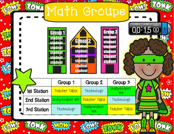 Superhero Math Workshop Rotation Board - SMARTboard
