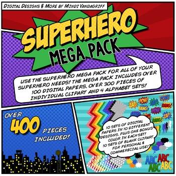 Superhero Mega Digital Paper & Clipart Pack!