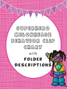 Superhero Melonheadz Behavior Clip Chart with Folder Descriptions