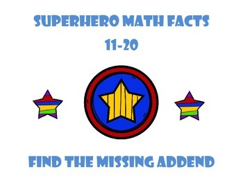 Superhero Missing Addend - Math facts