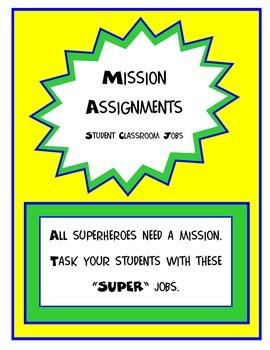 Superhero Missions (Classroom Jobs)