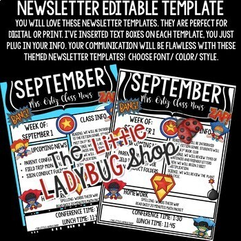 Superhero Classroom Theme Monthly & Weekly Newsletter Template Editable