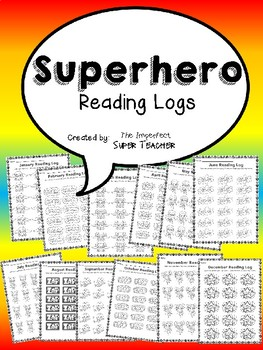 Superhero Monthly Reading Logs