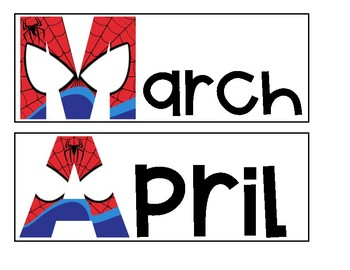 Superhero Months of the Year